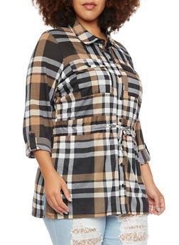 Plus Size Plaid Shirt with Drawstring Waist - 3912051065026