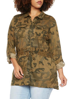 Plus Size Camo Shirt with Drawstring Waist - 3912051065029