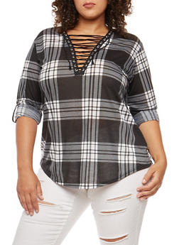Plus Size Plaid Lace Up Top - 3912051066071