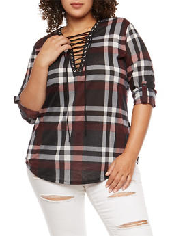 Plus Size Burgundy Plaid Lace Up Top - 3912051066074