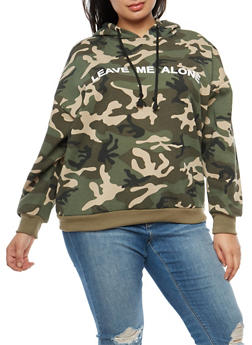 Plus Size Leave Me Alone Graphic Camo Hooded Sweatshirt - 3912051066301