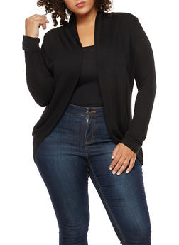 Plus Size Solid Long Sleeve Cardigan - 3912054260042