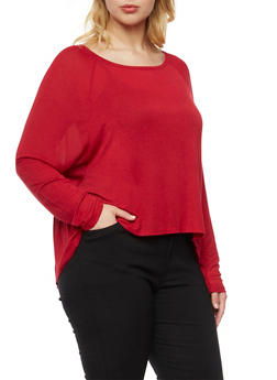 Plus Size Top with Dolman Sleeves - RED - 3912054260098