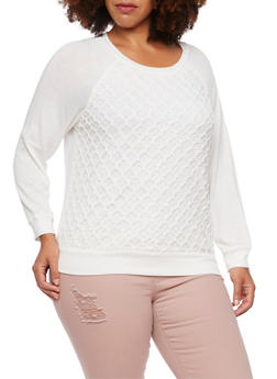 Plus Size Top with Geometric Crochet Panel - IVORY (OFF WHITE) - 3912054260425