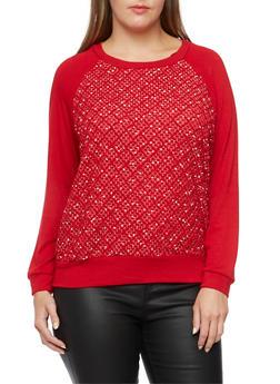 Plus Size Top with Geometric Crochet Panel - 3912054260425