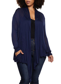 Plus Size Solid Open Front Cardigan - 3912054260612