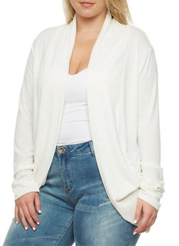 Plus Size Cocoon Cardigan with Open Front - 3912054260742