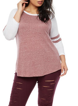 Plus Size Striped Sleeves Baseball T Shirt - 3912054260881