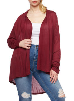 Plus Size Solid Open Front Cardigan - 3912054266731