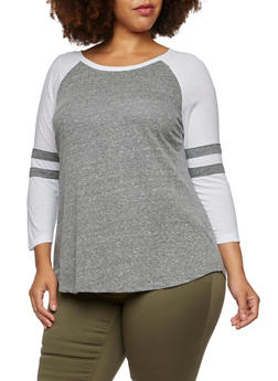 Plus Size Top with Raglan Sleeves - 3912054267881