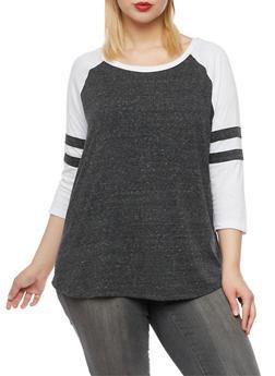 Plus Size Top with Raglan Sleeves - BLACK/WHITE - 3912054267881