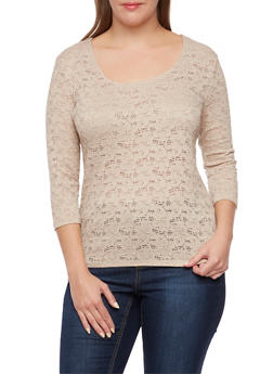 Plus Size Crochet Lace Top with Scoop Neck - 3912054268198