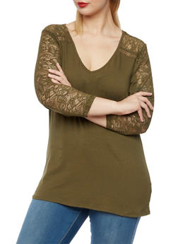 Plus Size Top with Lace Paneling - 3912054269094
