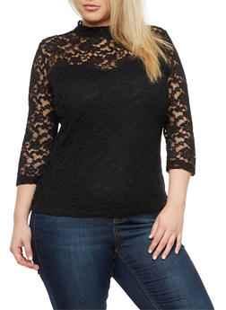 Plus Size Lace Mock Neck Top - 3912054269760