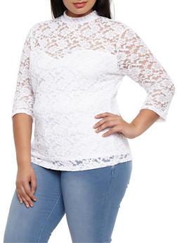 Plus Size Lace Mock Neck Top - WHITE - 3912054269760