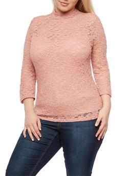 Plus Size Lace Mock Neck Top - 3912054269760