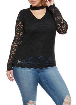 Plus Size Choker Neck Lace Top - 3912054269782