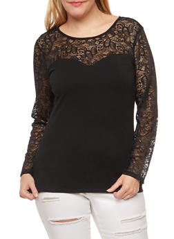 Plus Size Lace Trim Top - 3912054269783