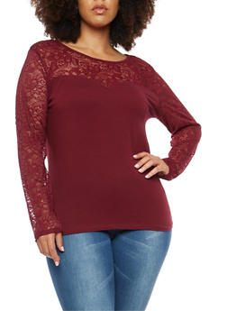 Plus Size Lace Trim Top - BURGUNDY - 3912054269783