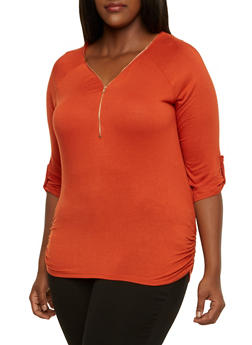 Plus Size Top with Zipper Neckline - 3912058750013