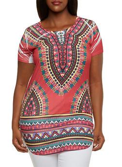Plus Size Dashiki Print Tunic with Scoop Neck - BURGUNDY COMBO - 3912058750022