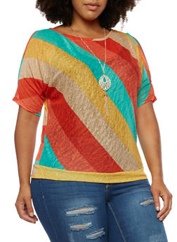 Plus Size Rainbow Cold Shoulder Knit Top with Necklace - 3912058750282