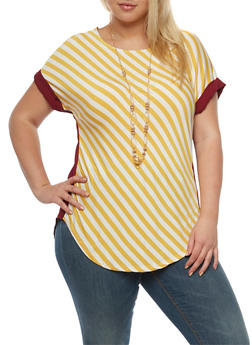 Plus Size Striped Top with Necklace - 3912058750784