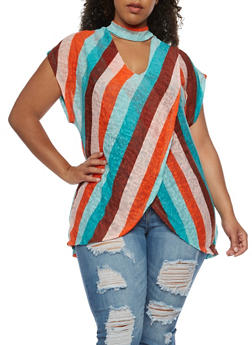 Plus Size Faux Wrap Asymmetrical Choker Top - 3912058751965