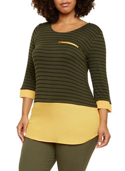 Plus Size Striped Top with Chiffon Contrast - 3912058752411