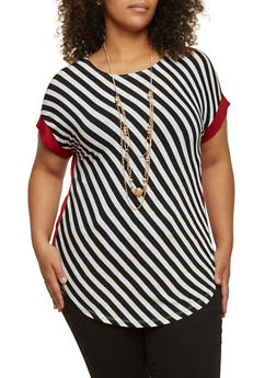 Plus Size Striped Top with Removable Necklace - 3912058752552