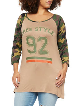 Plus Size Graphic Top with Freestyle 92 Print - 3912058754986
