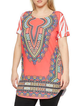 Plus Size Dashiki Print Tunic Top - 3912058755002
