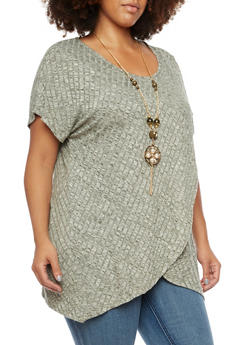 Plus Size Marled Tulip Top with Removable Necklace - 3912058755190