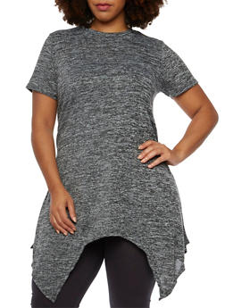 Plus Size Marled Tunic Top with Handkerchief Hem - 3912058755193