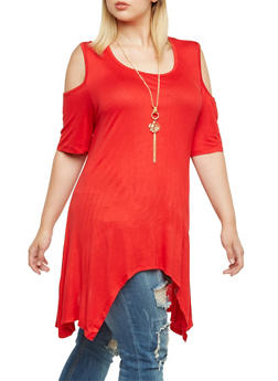 Plus Size Cold Shoulder Maxi Top with Rose Necklace and Shark Bite Hem - 3912058755195