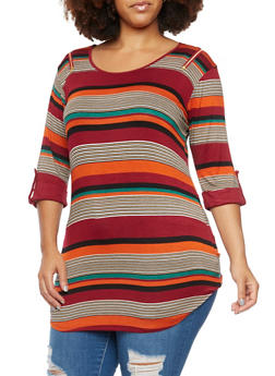 Plus Size Striped Tunic Top with Zip Shoulders - 3912058755196