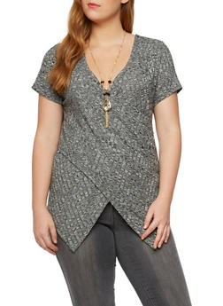 Plus Size Knit Top with Removable Necklace - 3912058755197