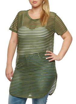 Plus Size Shadow Stripe Tunic Top - 3912058755750