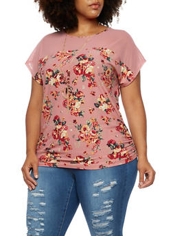 Plus Size Floral Mesh Short Sleeve Top - 3912058758138