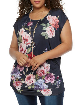Plus Size Floral Top with Necklace - 3912058758143