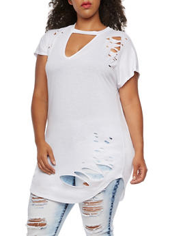 Plus Size Short Sleeve Ripped Mock Neck Tunic Top - 3912058758175