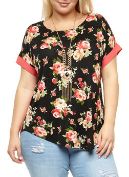 Plus Size Floral Top with Necklace - 3912058758760