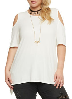 Plus Size Solid Cold Shoulder Top with Necklace - 3912058758767