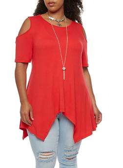 Plus Size Asymmetrical Cold Shoulder Top - 3912058758784