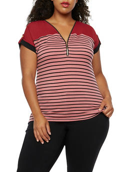 Plus Size Striped Zipper Top - 3912058758785