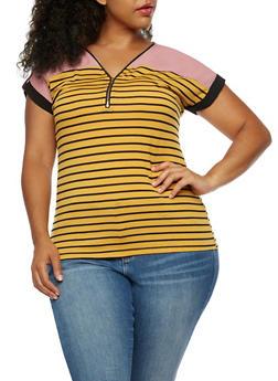 Plus Size Striped Zipper Top - 3912058758785