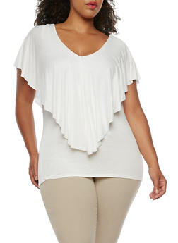 Plus Size Overlay Tank Top - WHITE - 3912058758786
