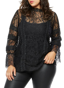 Plus Size Long Sleeve Lace Top - 3912058759093