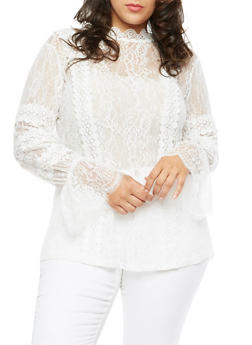 Plus Size Long Sleeve Lace Top - IVORY - 3912058759093