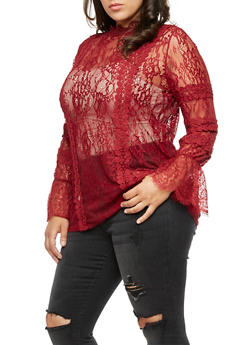 Plus Size Long Sleeve Lace Top - 3912058759093